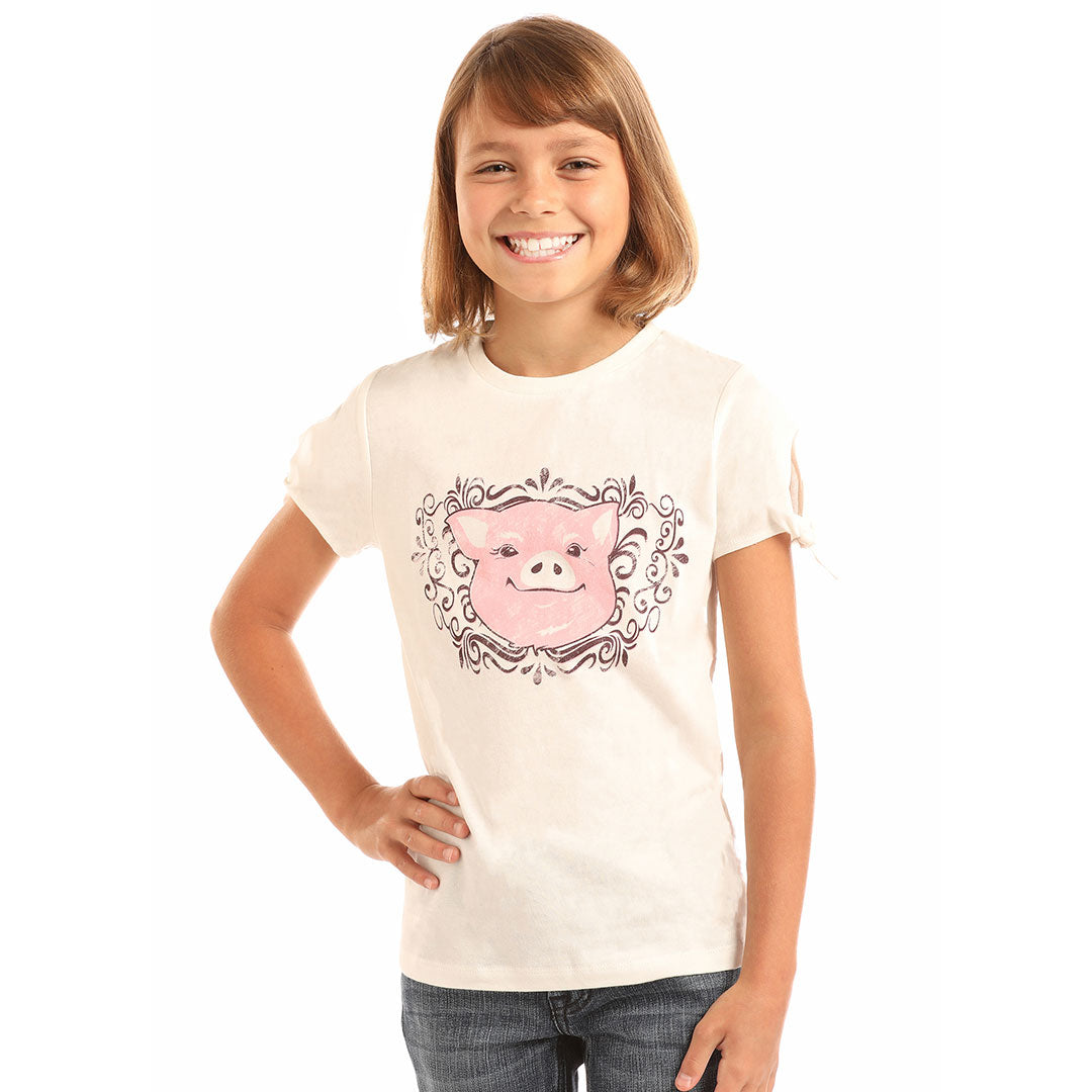 Rock & Roll Cowgirl Pig Graphic Cream T-Shirt