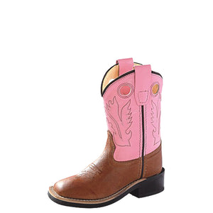 Old West Toddler Pink & Brown Western Boots