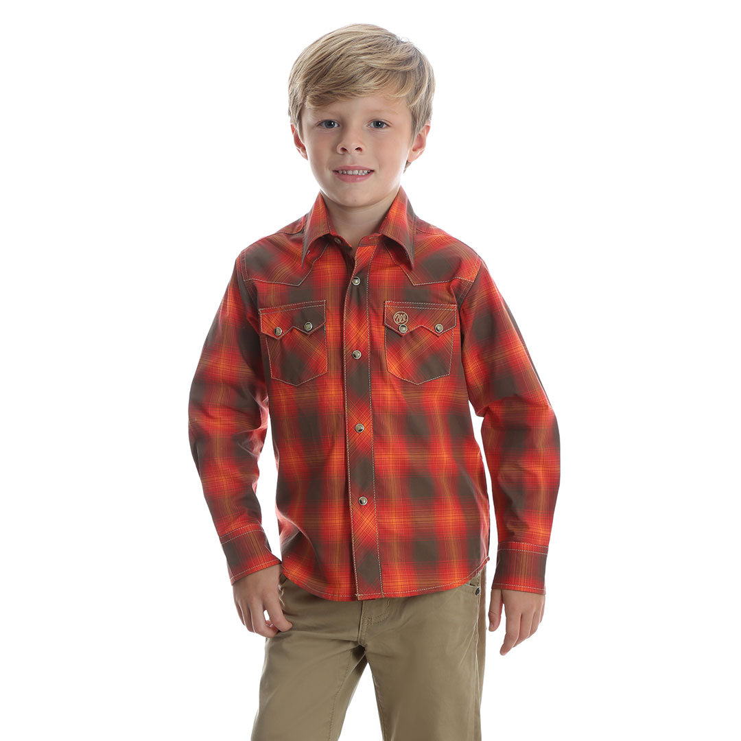 Wrangler® Retro® Orange & Brown Plaid Shirt