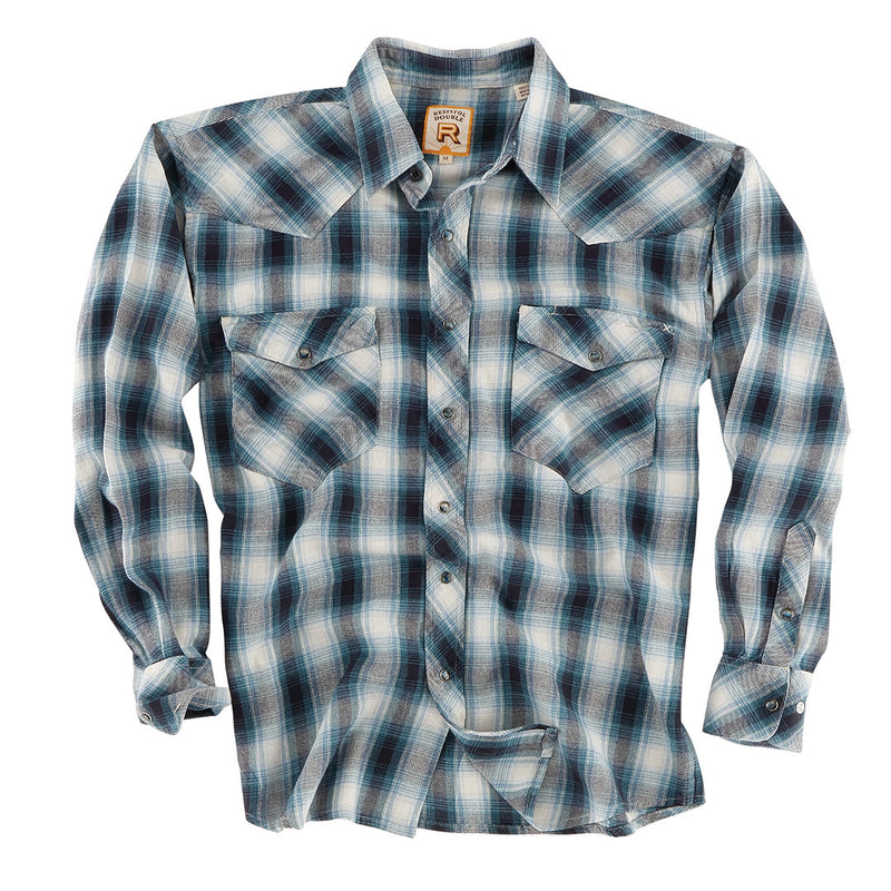 Double R Marine Ombre Blue Black & White Mens Flannel Shirt