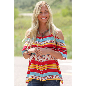 Cruel Denim Striped Cold Shoulder Top