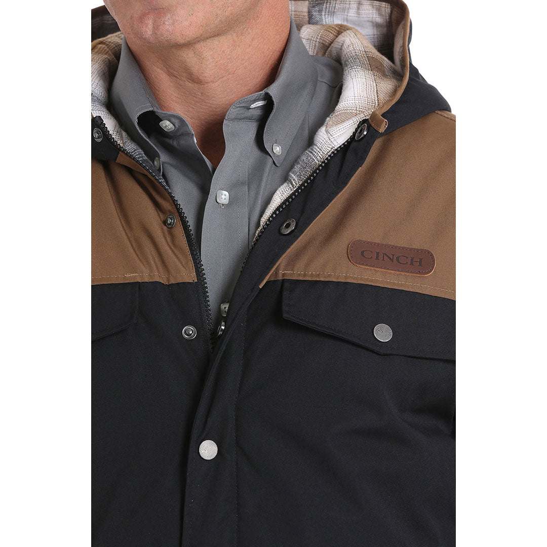 Cinch Color Blocked Barn Black & Tan Mens Coat