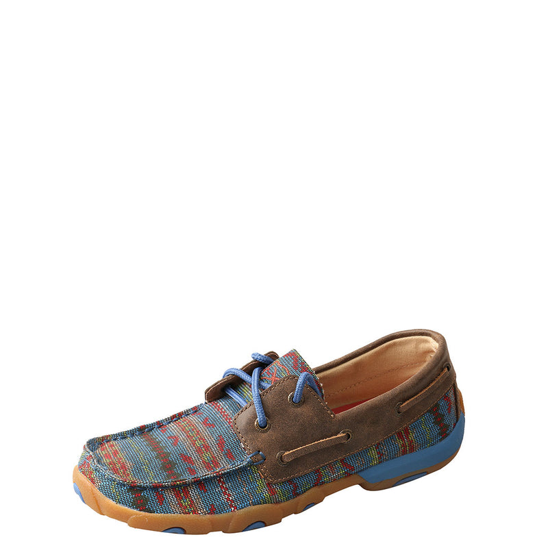 Twisted X Blue Aztec Womens Driving Moccasin Shoe