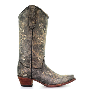 Circle G Andrea Black Crackle Cowgirl Boots