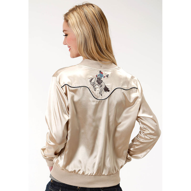 Roper Embroidered Bronco Satin Bomber Womens Cream Jacket