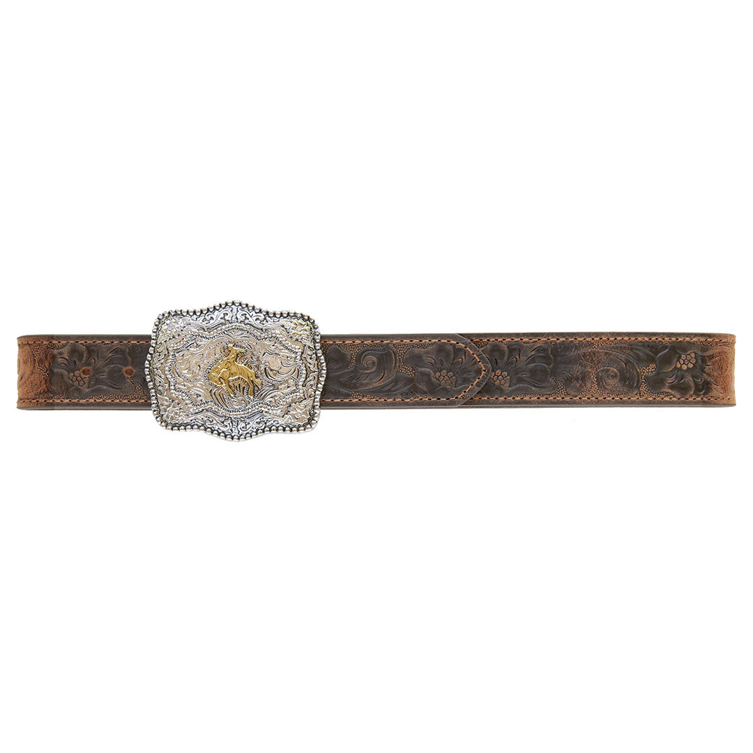 AndWest Kid's Brown Tooled Buckin' Bronc Buckle & Belt Set