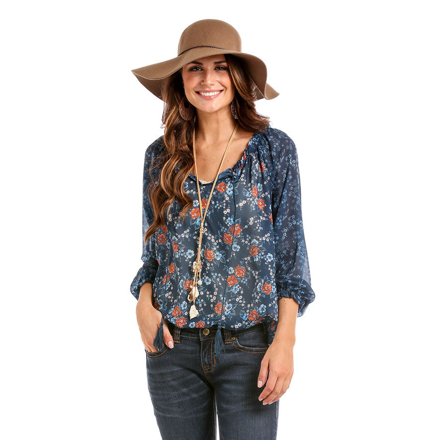 Panhandle White Label Navy Peasant Top