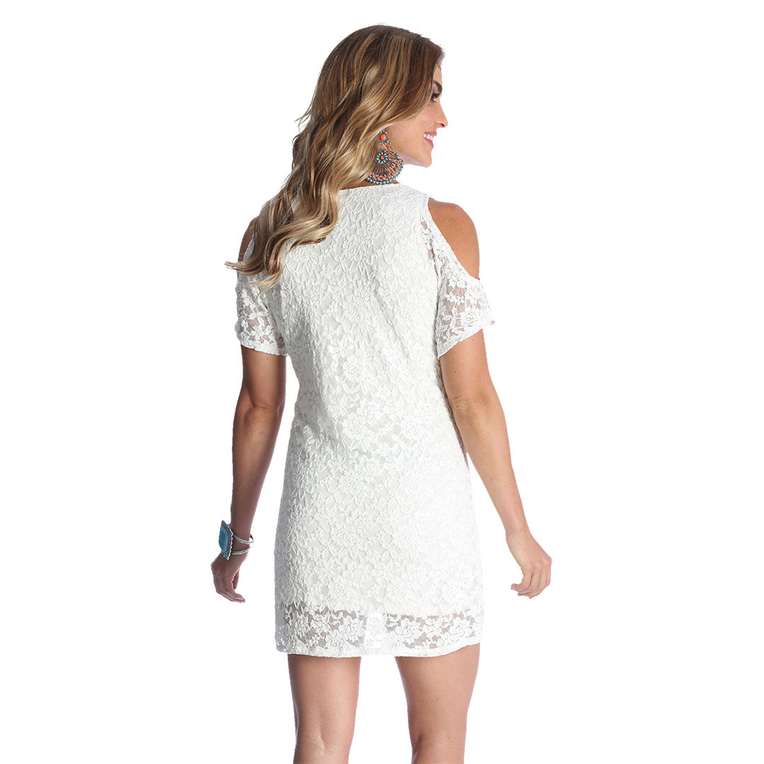 Wrangler Cold Shoulder Ivory Lace Dress