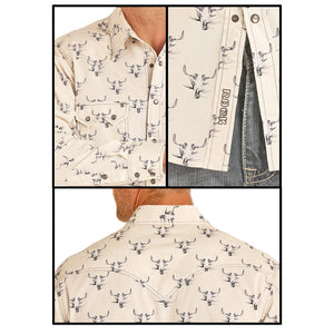 Rock & Roll Cowboy Tan Steer Head Print Shirt