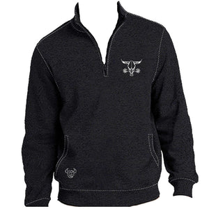 Cowboy Hardware Barbed Skull Speckle Fleece Charcoal Mens Cadet