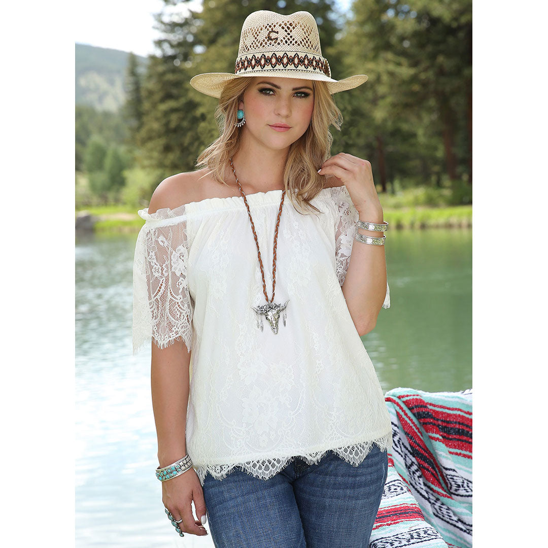 Cruel Denim White Off the Shoulder Lace Top