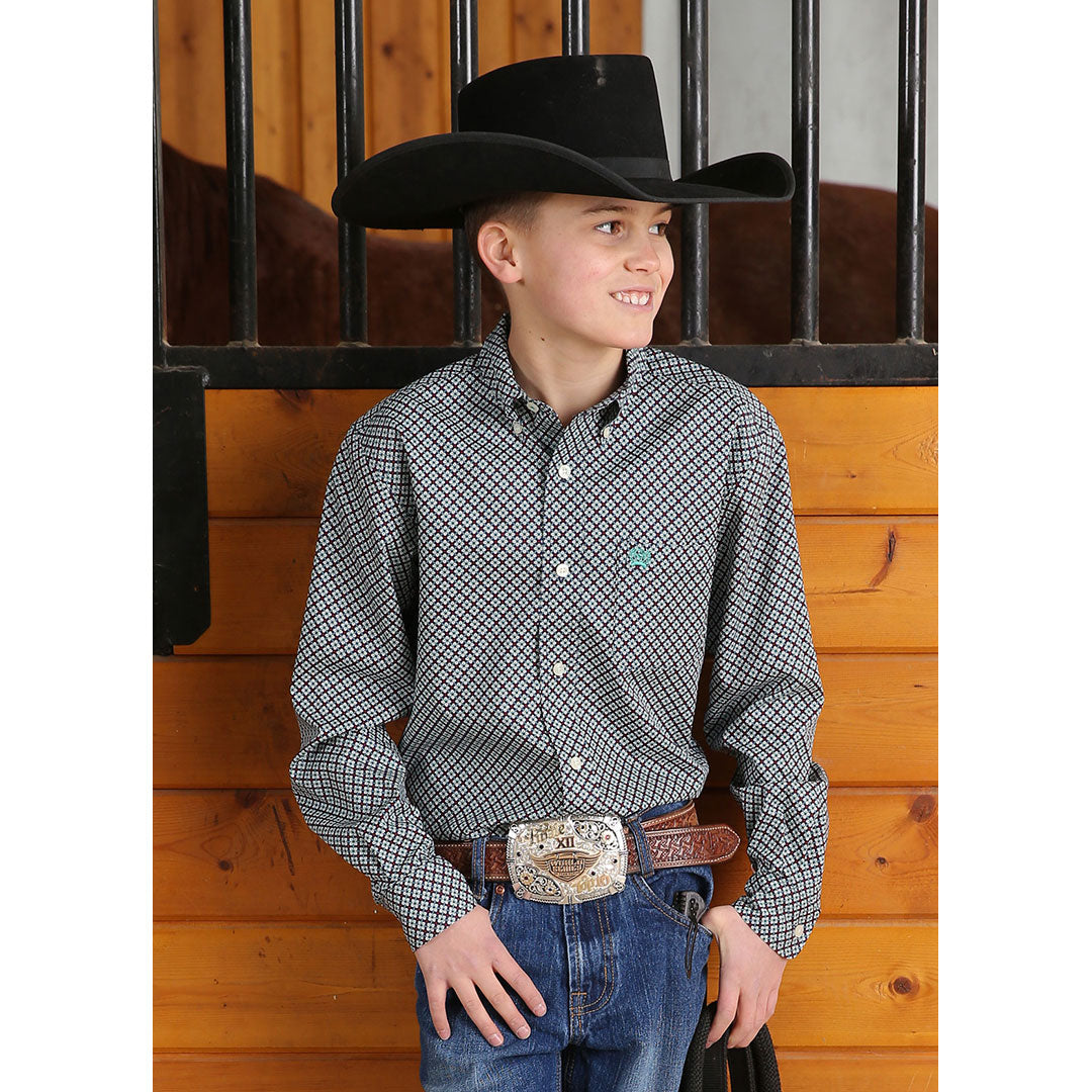 Cinch Geometric Print Boys Shirt