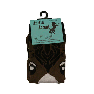 Austin Accent Kids Horse Face Brown Sock