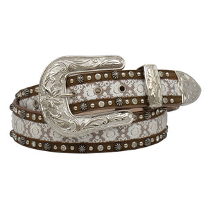Angel Ranch Lace Inlay Brown Fashion Belt
