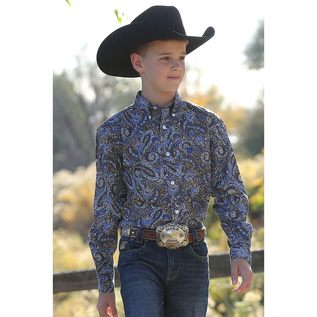 Cinch Brown & Blue Paisley Print Shirt