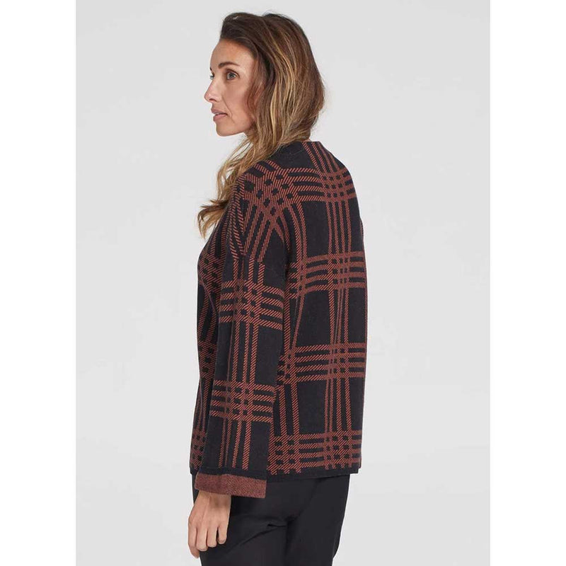 Tribal Women's Mock Neck Plaid Sweater