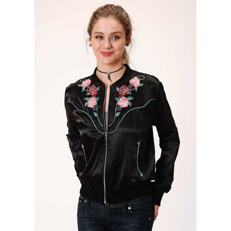 Roper Women's Embroidered Satin Bomber Jacket