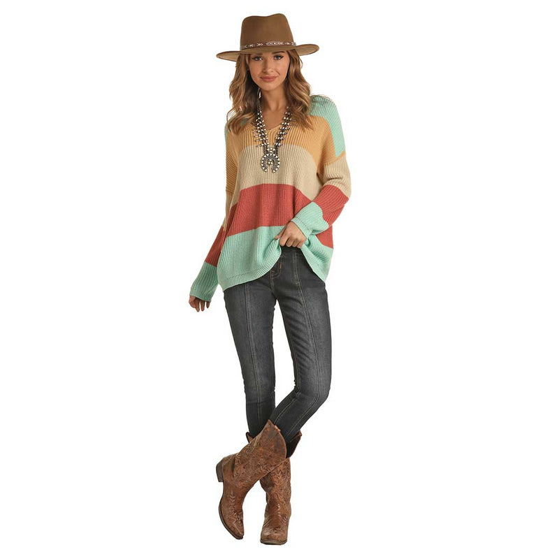 Rock & Roll Cowgirl Women's Color Blocked Sweater