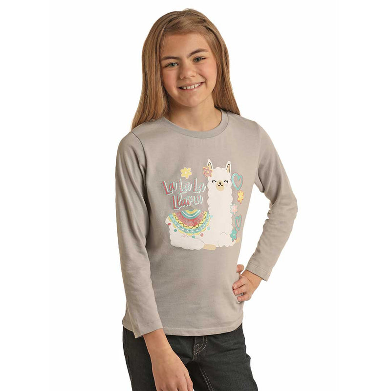 Rock & Roll Cowgirl Girl's Llama Graphic Top