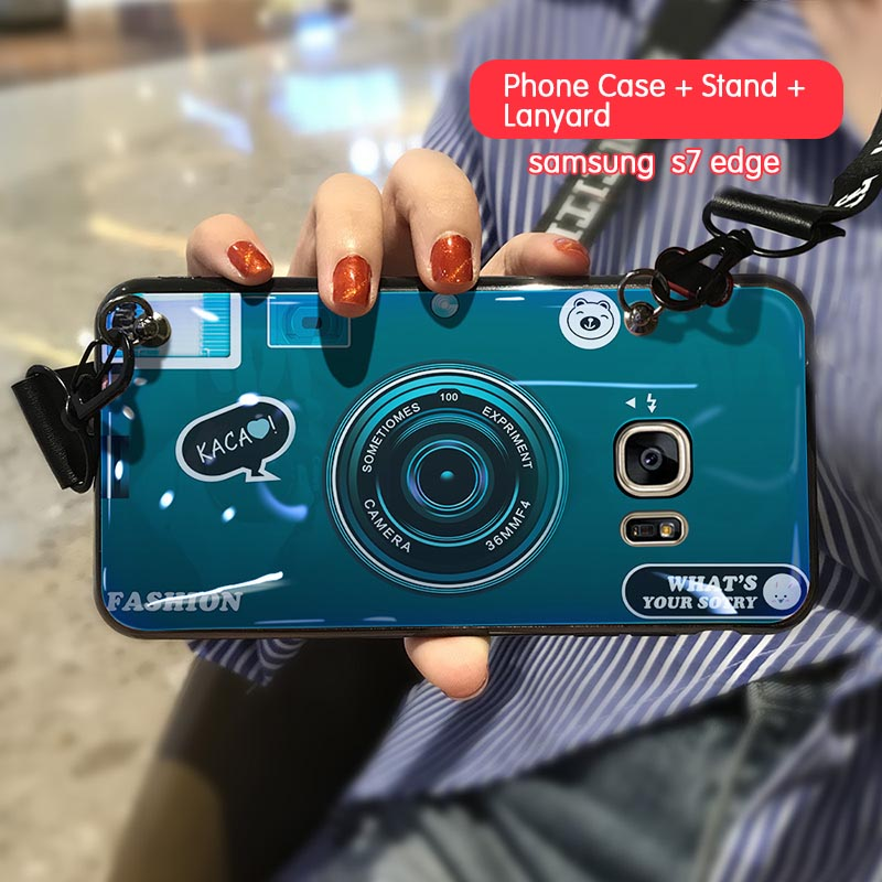 3D Retro Camera Lanyard Phone holder Case for Samsung S7 S7Edge