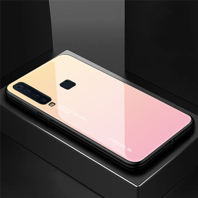 Gradient Tempered Glass Back Anti-scratch Protective Case for Samsung A6 A7 A8 A6 Plus A8 Plus A9