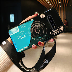 3D Retro Camera Lanyard Phone holder Case for Samsung S10 S10Plus S10E