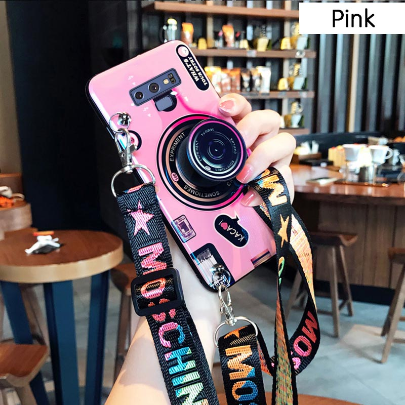 3D Retro Camera Lanyard Phone holder Case for Samsung Note 9