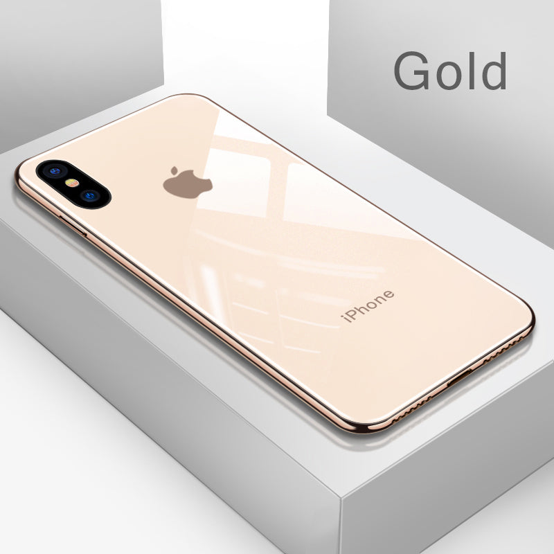 Luxury  Shockproof Tempered Glass Back Cover Soft TPU Edge Case for iPhone X XS Max XR 7Plus 8Plus 7 8 6sPlus 6s