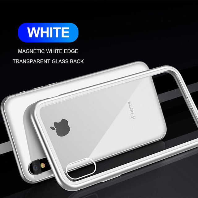 Transparent Tempered Glass Magnetic Adsorption Phone Case for iPhone XS Max XR XS X 8 Plus 7 Plus 8 7 6s Plus 6 Plus
