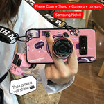 3D Retro Camera Lanyard Phone holder Case for Samsung Note 8