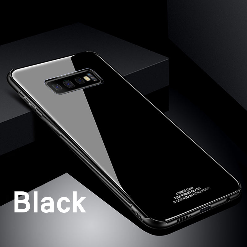 Luxury Shockproof Tempered Glass Back Cover Soft TPU Edge Case for Samsung S10 S10 Plus S10E