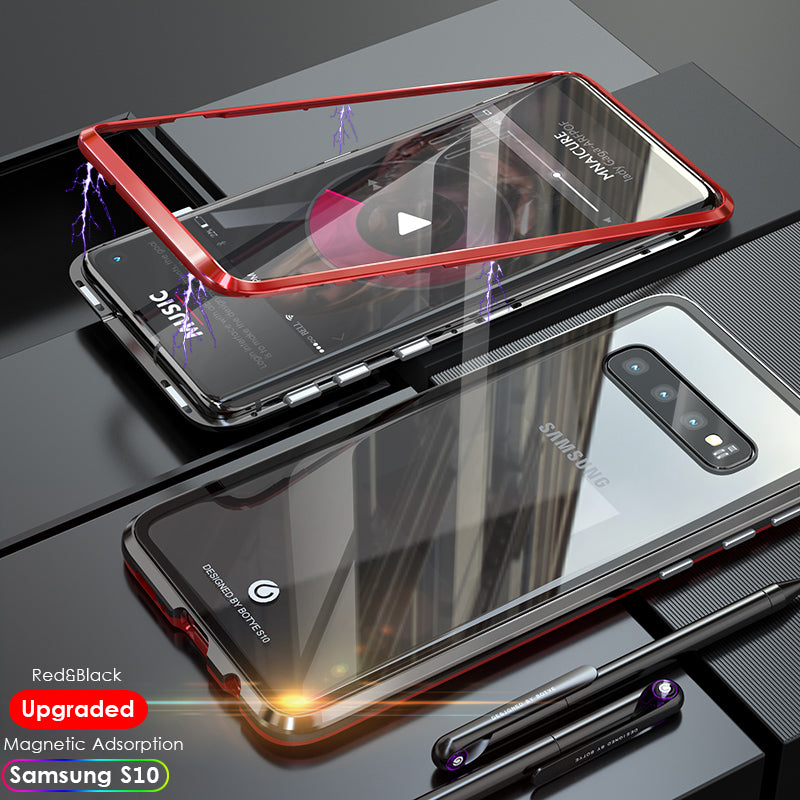 Tempered Glass Magnetic Adsorption Phone Case for Samsung S10 S10 Plus