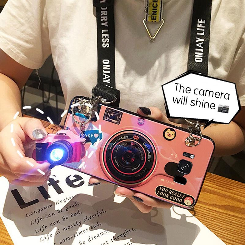 3D Retro Camera Lanyard Phone holder Case for Samsung S9 S9Plus S8 S8Plus