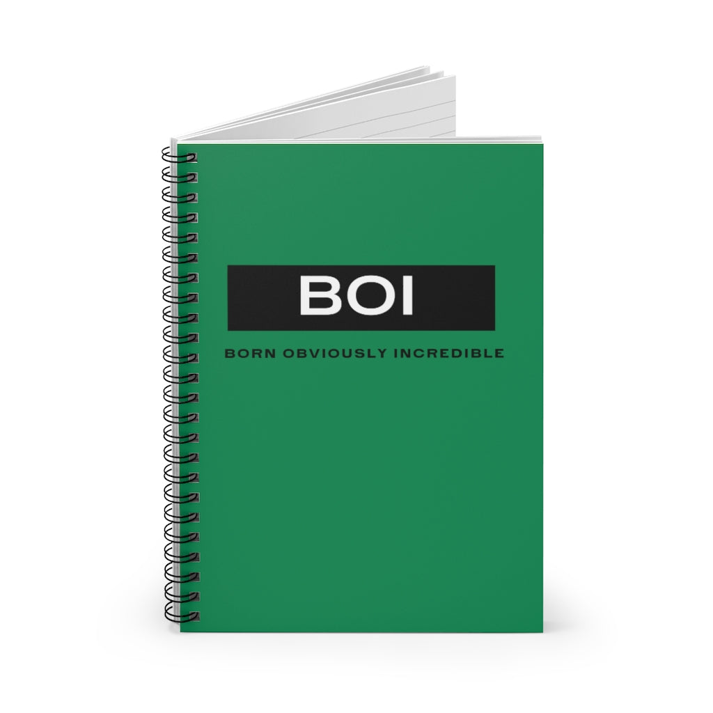 BOI Signature Green Spiral Notebook - Ruled Line