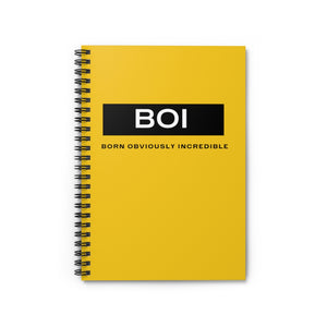 BOI Signature Yellow Spiral Notebook - Ruled Line