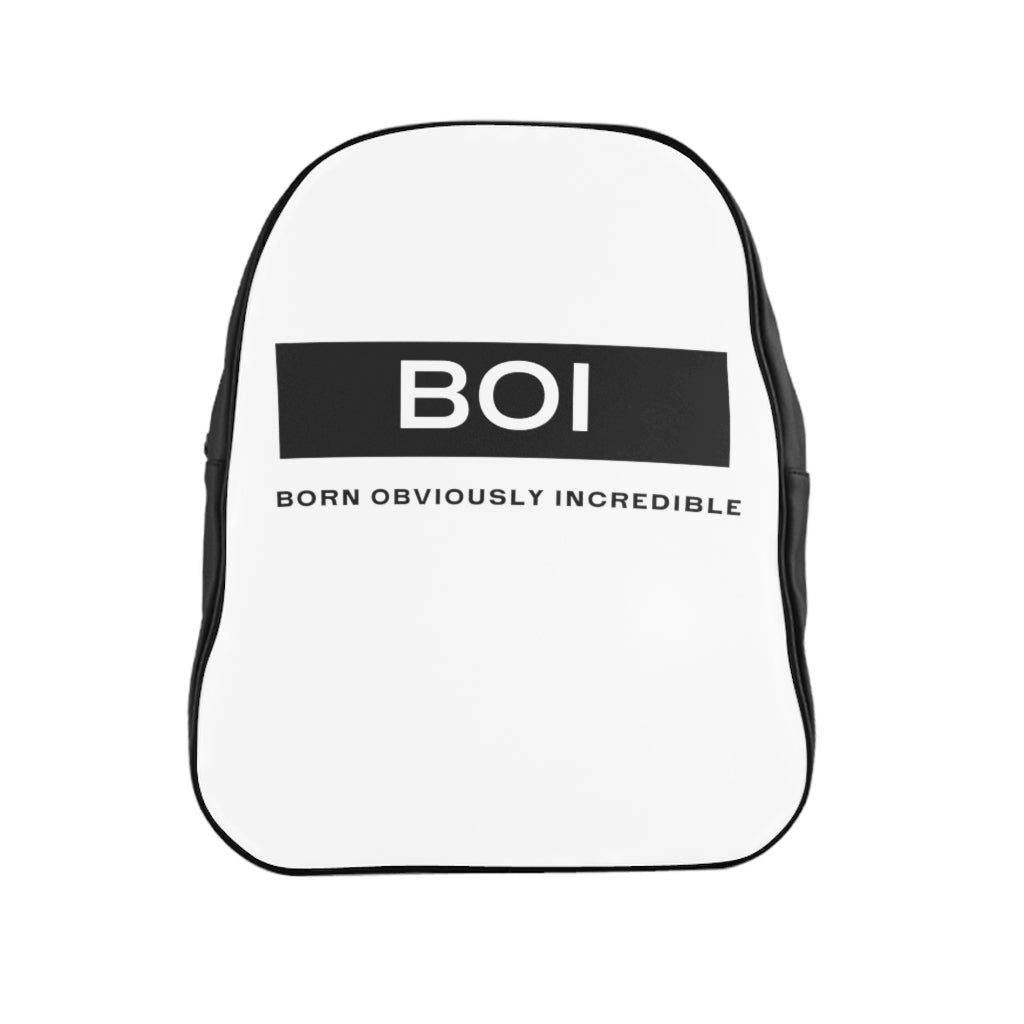 BOI Signature - (White) Leather  Backpack