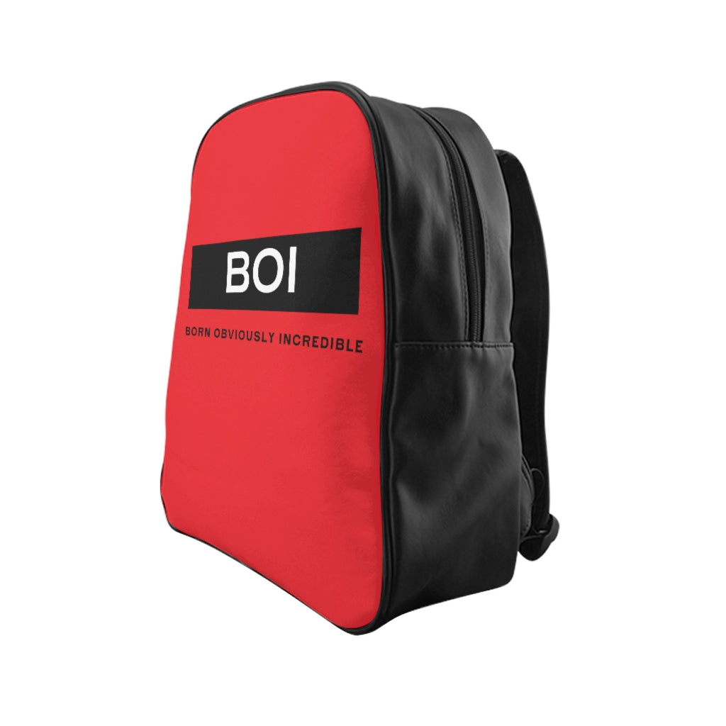 BOI Signature - (Red) Leather  Backpack