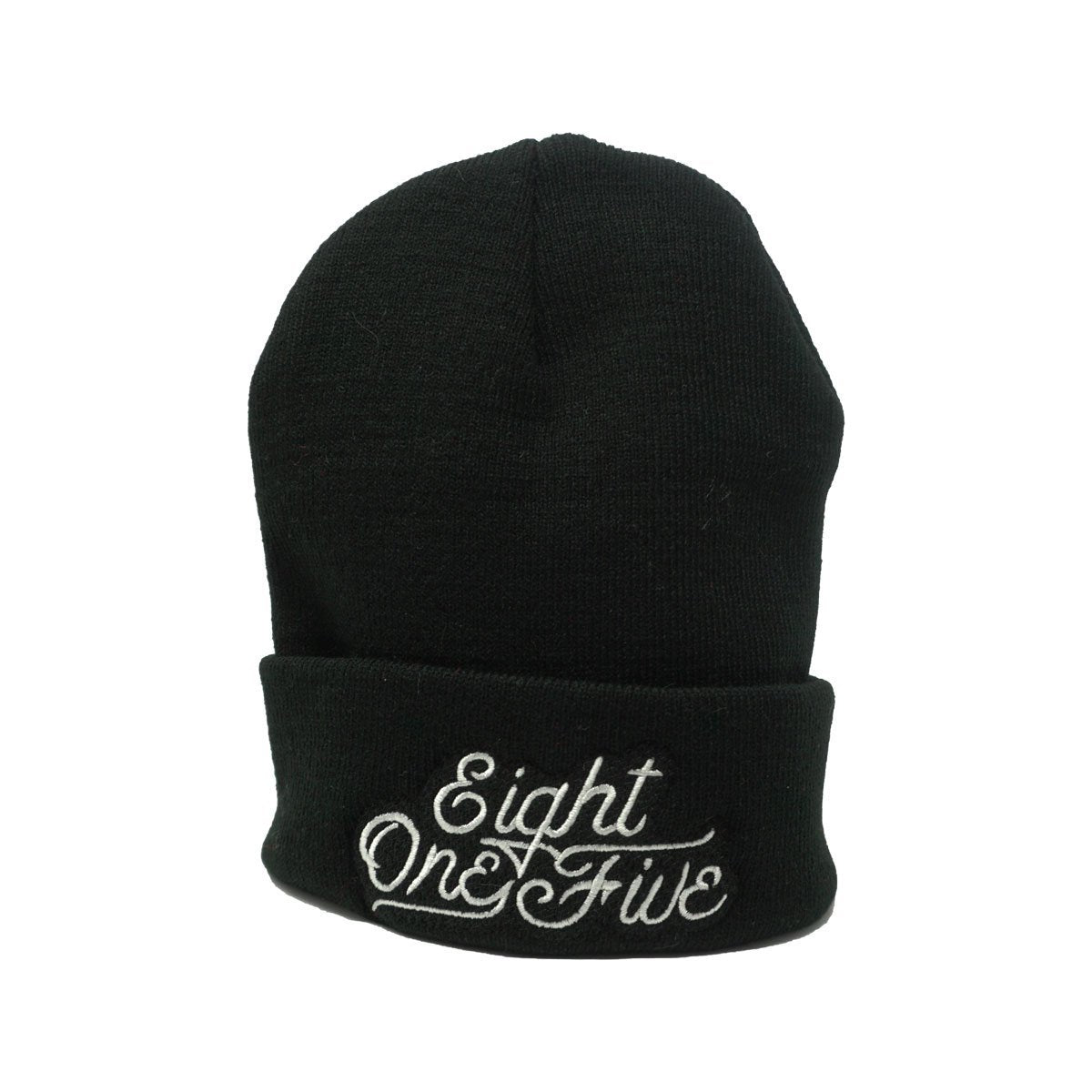 Eight One Five Script Beanie Hat Bayside Black