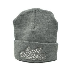 Eight One Five Script Beanie Hat Bayside Light Grey