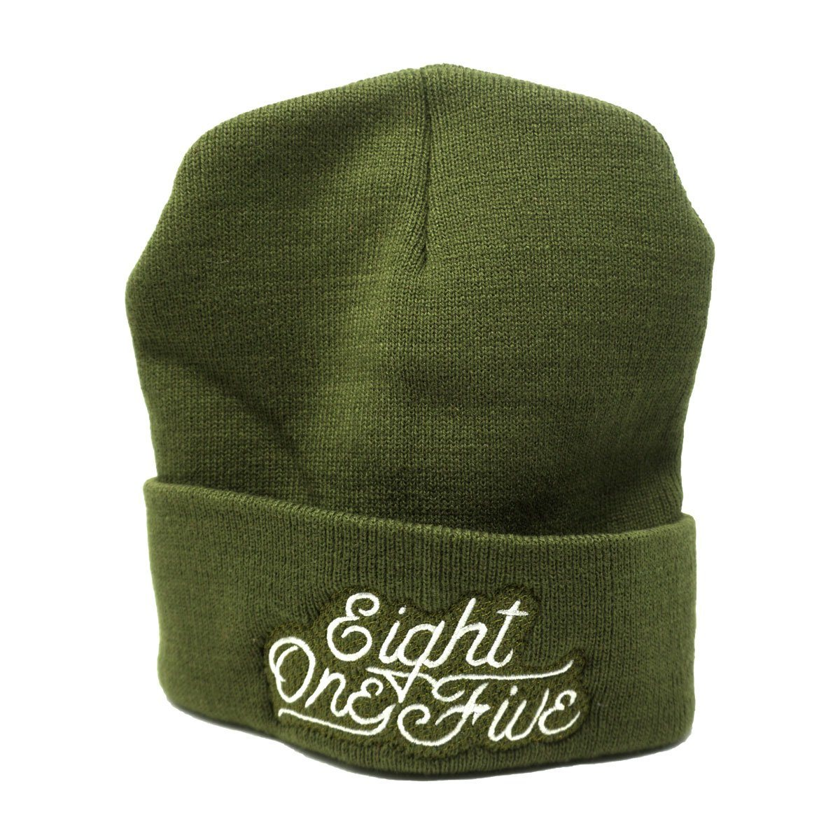Eight One Five Script Beanie Hat Bayside Olive