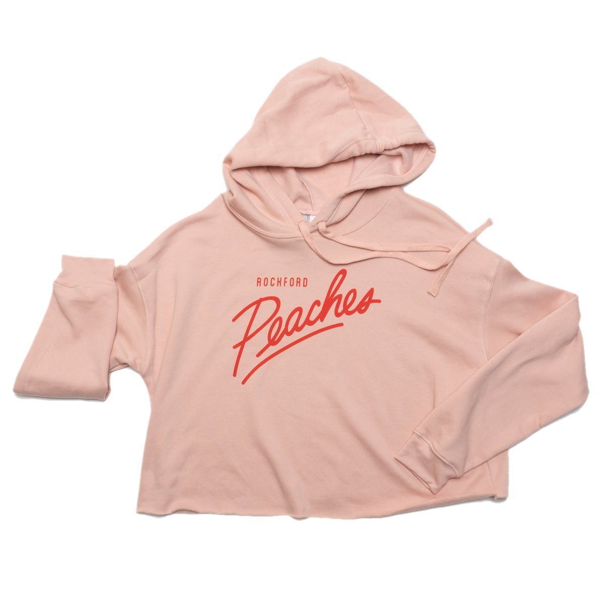 Peach Script Cropped Hoodie Crop Sweatshirt Bella + Canvas