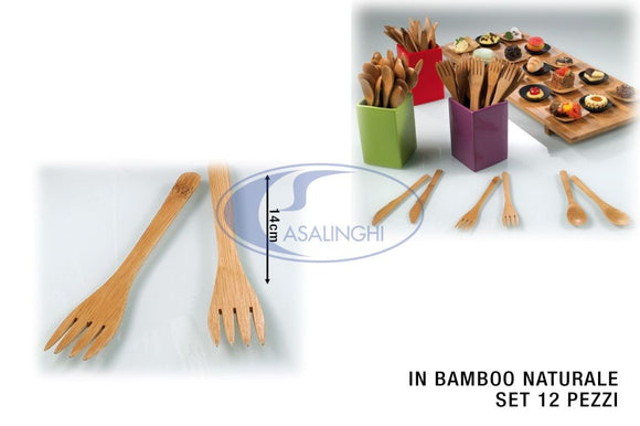 FORCHETTA IN BAMBOO CM.14 SET 12 PZ.