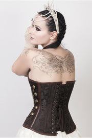 Alba Steampunk Overbust Brown Corset with Chains