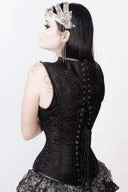 Adrienne Gothic Overbust Black Corset with Shoulder Straps