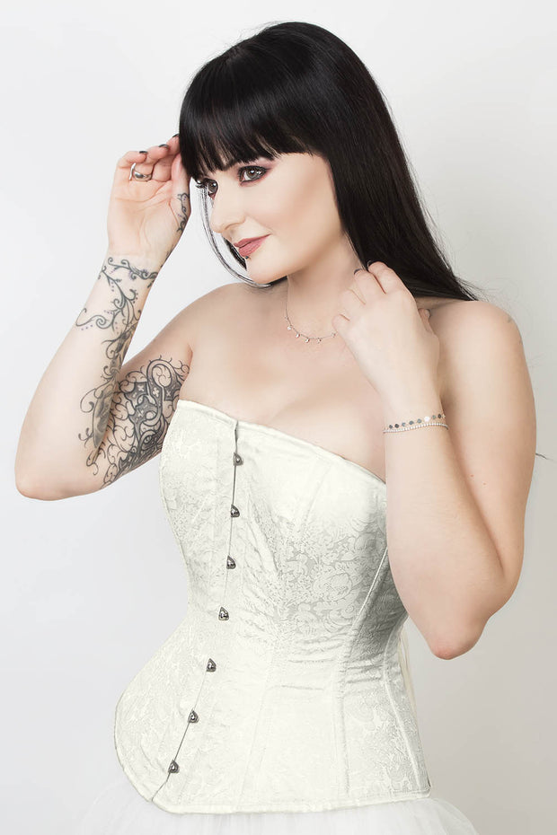 Edwardian Steel Boned Ivory Brocade Corset
