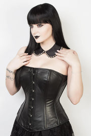 Edwardian Long Line Leather Corset