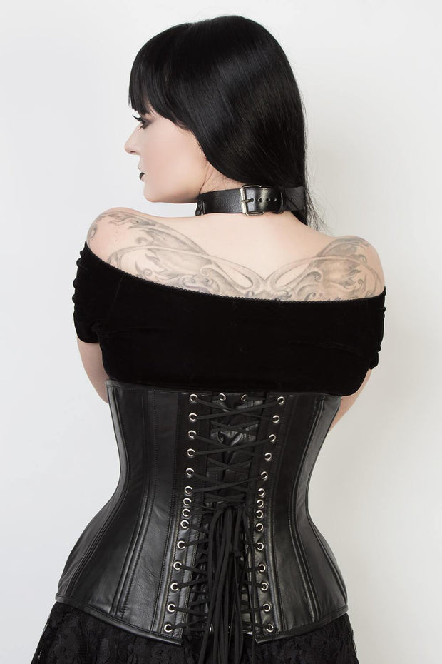 Black Leather Waist Training Corset