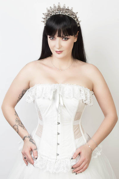 Mesh with Cotton Burlesque Overbust Corset