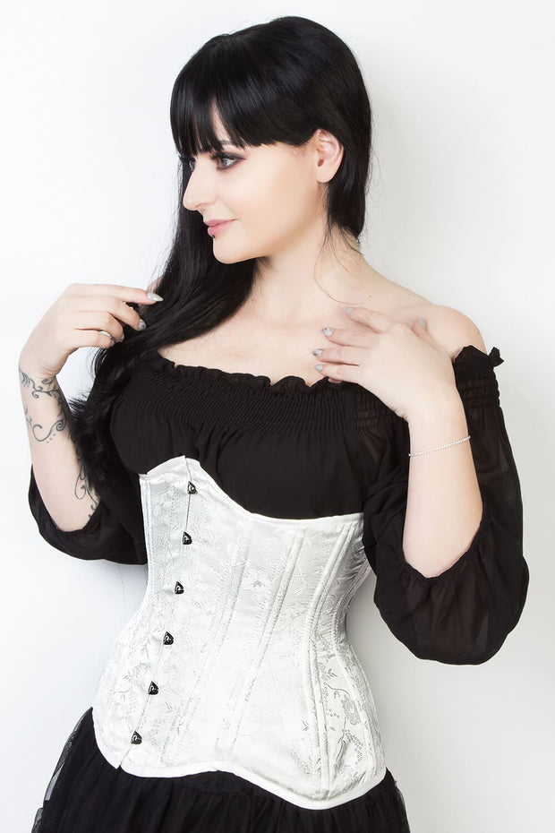 White Floral Brocade Waist Training Corset