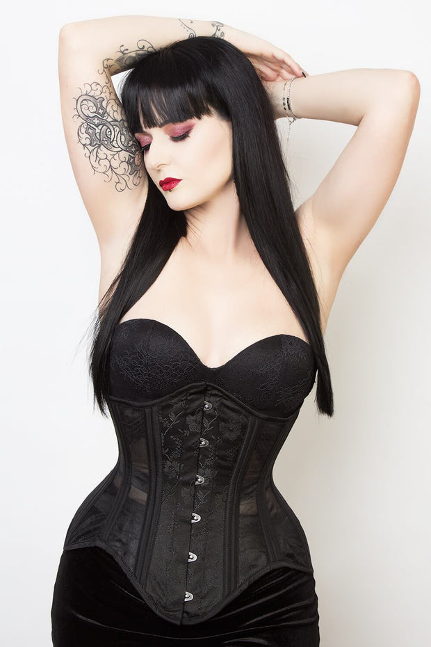 Mesh with Brocade Waist Trainer Corset